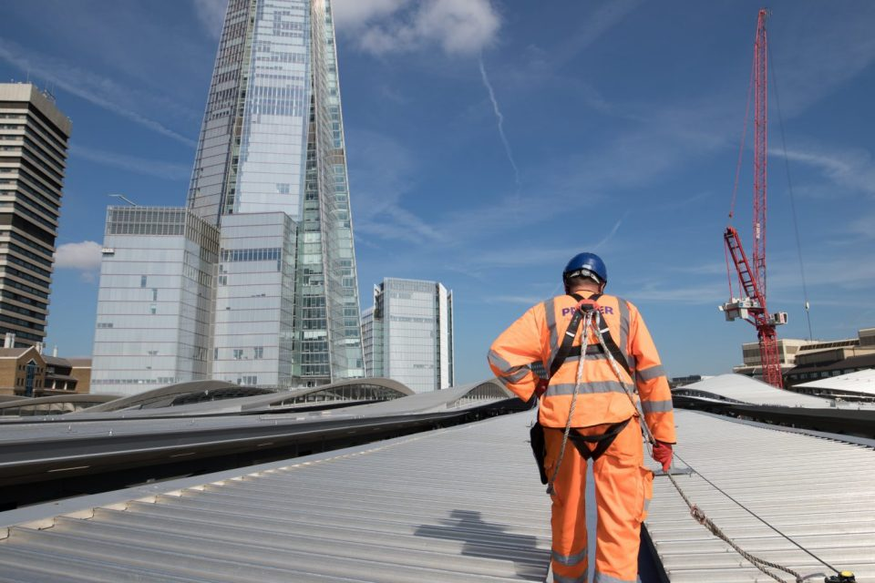 Roof of London Bridge Station with Shard in background