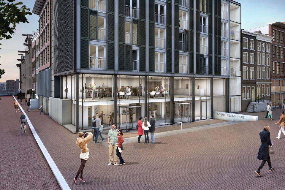 Nieuwe hoofdentree aan de zijde Westermarkt in eerdere uitbreiding Benthem Crouwel architecten 1999 ontwerp Bierman Henket Architecten